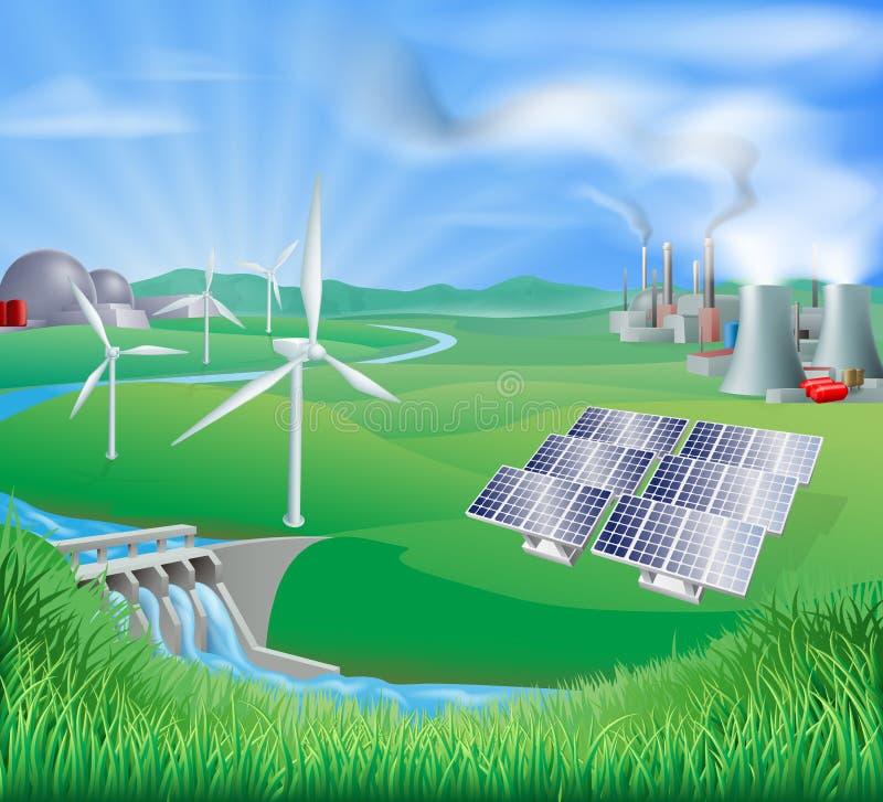 ström för metoder för elektricitetsutveckling stock illustrationer