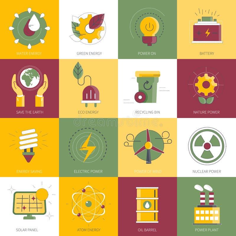 Ström- och energisymbolsset Plan vektorillustration stock illustrationer
