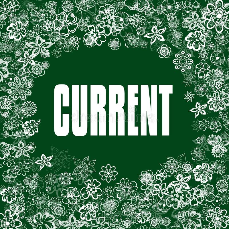 STRÖM på grönt baner med blommor stock illustrationer
