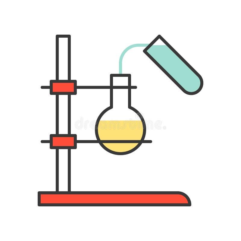 Strömendes Mittel des Reagenzglases zur Flasche stock abbildung