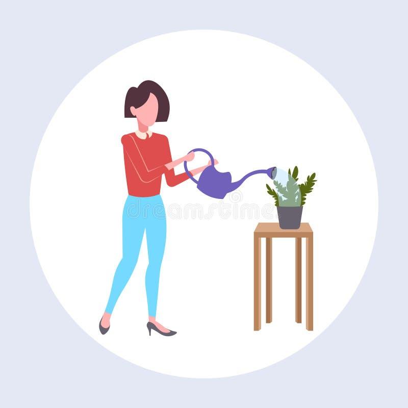 Strömendes Wasser der Hausfrau in der inländischen Topfpflanzefrauen-Holdinggießkanne, die weibliche Karikatur des Hausarbeitkonz vektor abbildung