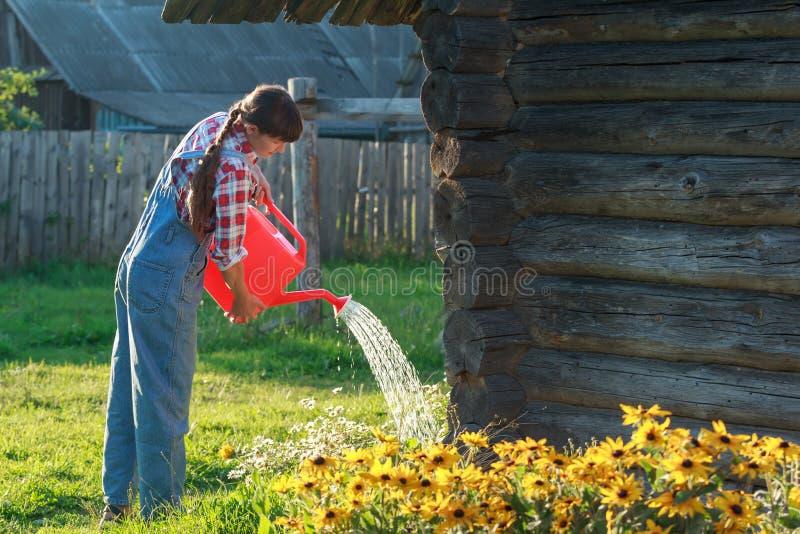 Strömendes Wasser des vorsichtigen Gärtners auf Blumengartenbett mit orange Plastikgießkanne lizenzfreies stockfoto