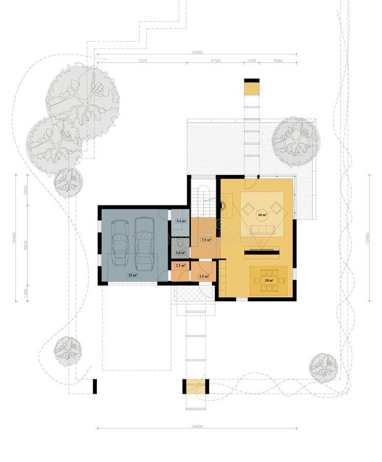 strömförande plan för golvhus stock illustrationer