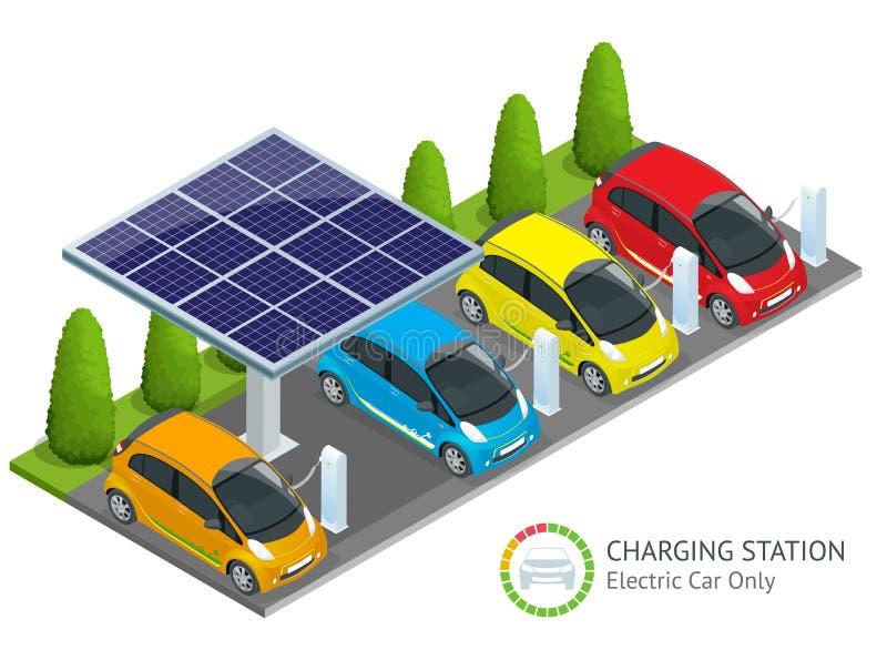 Strömförsörjning för elbiluppladdning Vektor för elbiluppladdningsstation Förnybara ecoteknologier grön ström stock illustrationer