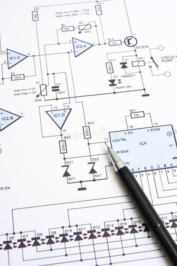 strömkretsdiagram arkivbild