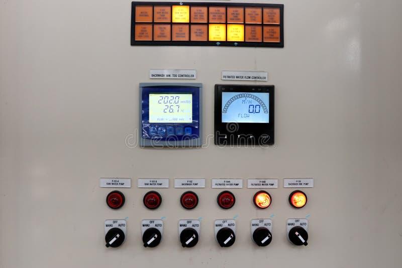 Strömkretsskärmknapp, skärm och ljusshow i kapaciteten av kontrollbordet royaltyfri bild