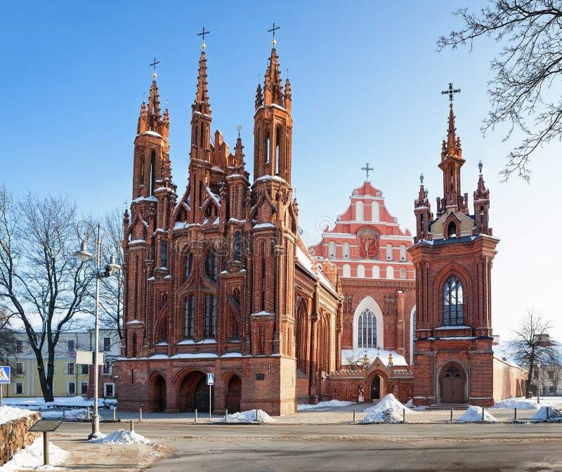 Str. Anne und Bernadines Kirchen in Vilnius lizenzfreie stockfotos