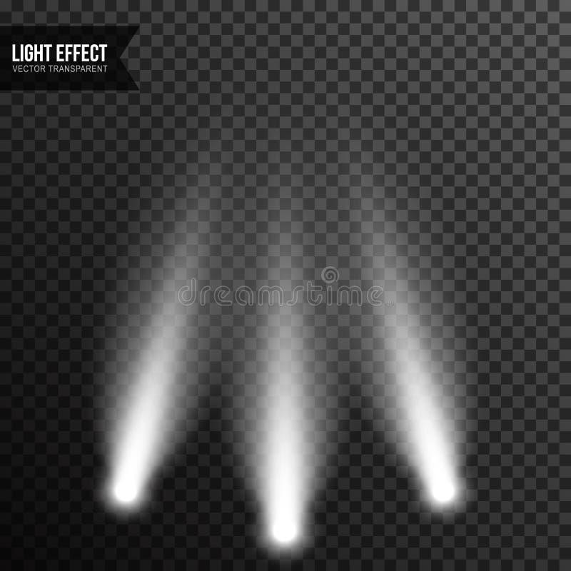 Str?lkastarebelysning, ljust ljus, etapp, genomskinlig podiumvektor vektor illustrationer