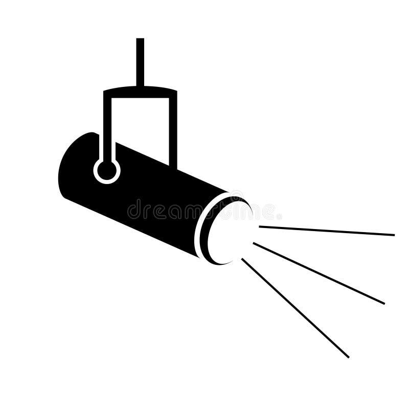 Str?lkastaresymbol i plan stil Lampvektorillustration p? vit isolerad bakgrund Ficklampaaff?rsid? vektor illustrationer