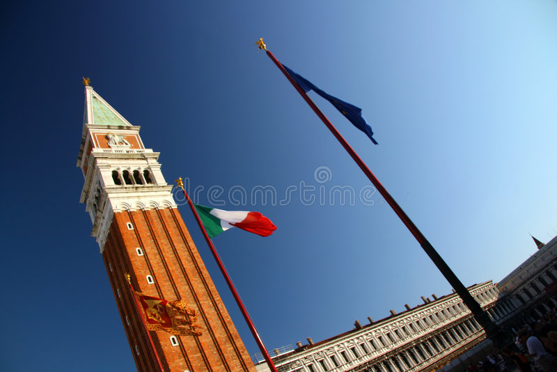 Str. markieren quadratischen Kontrollturm, Venedig stockfoto