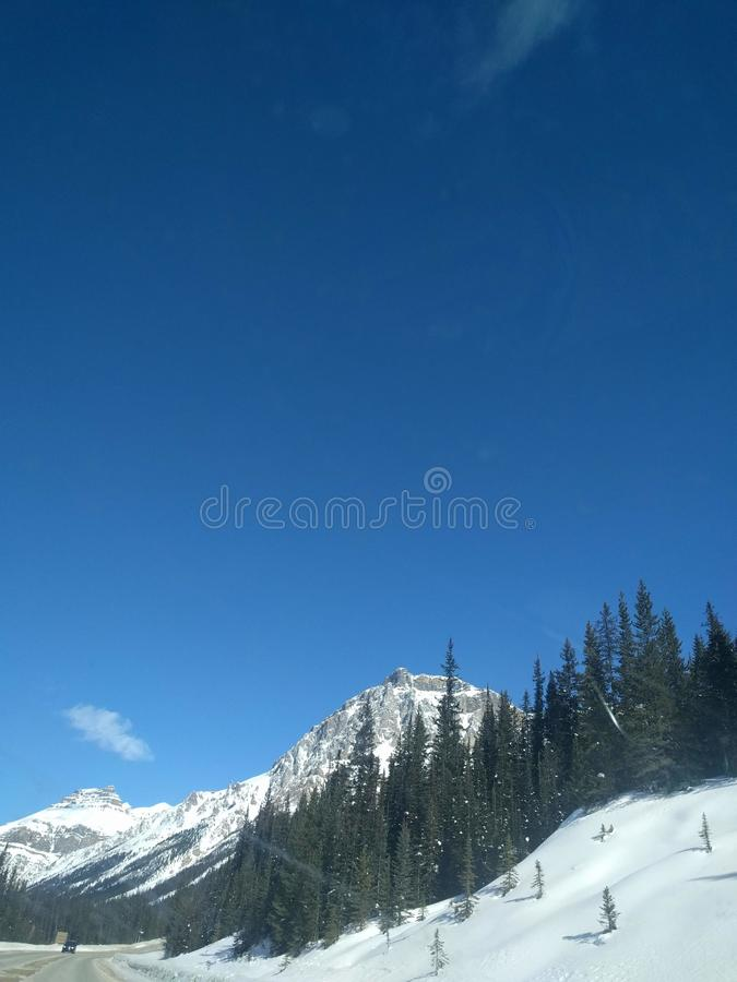 Str?va omkring runt om Banff, Alberta, Calgary i vinter arkivfoton