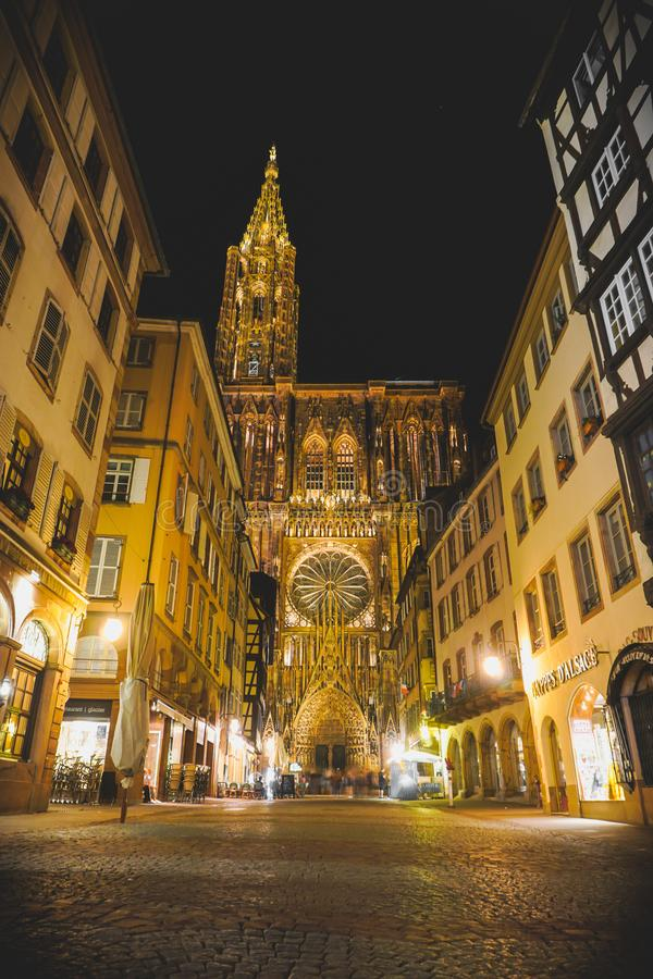 Straßburg-Kathedralenhaupteingang stockbilder