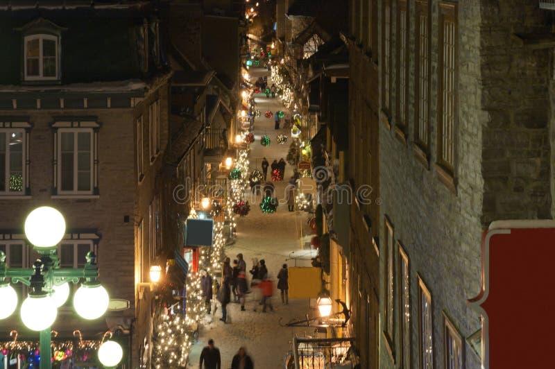 Straße alter Stadt Quebecs stockbild