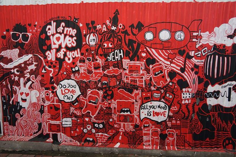 Straße Art Streetart in Malaysia stockbilder