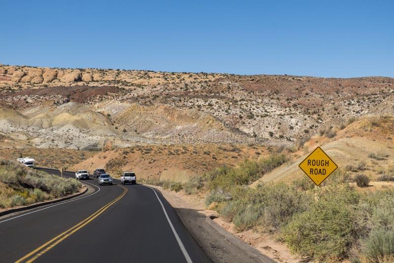 Straße in den Bögen Nationalpark, Utah lizenzfreie stockfotos