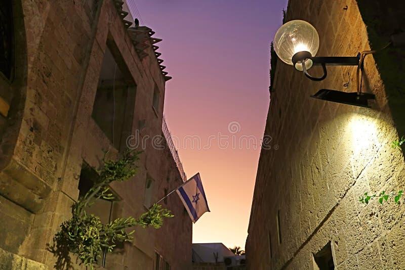 Straße der alten Steinstadt Jaffa in Tel Aviv, Israel stockbild