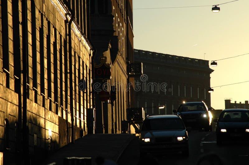 Straße An Der Dämmerung Stockfotos