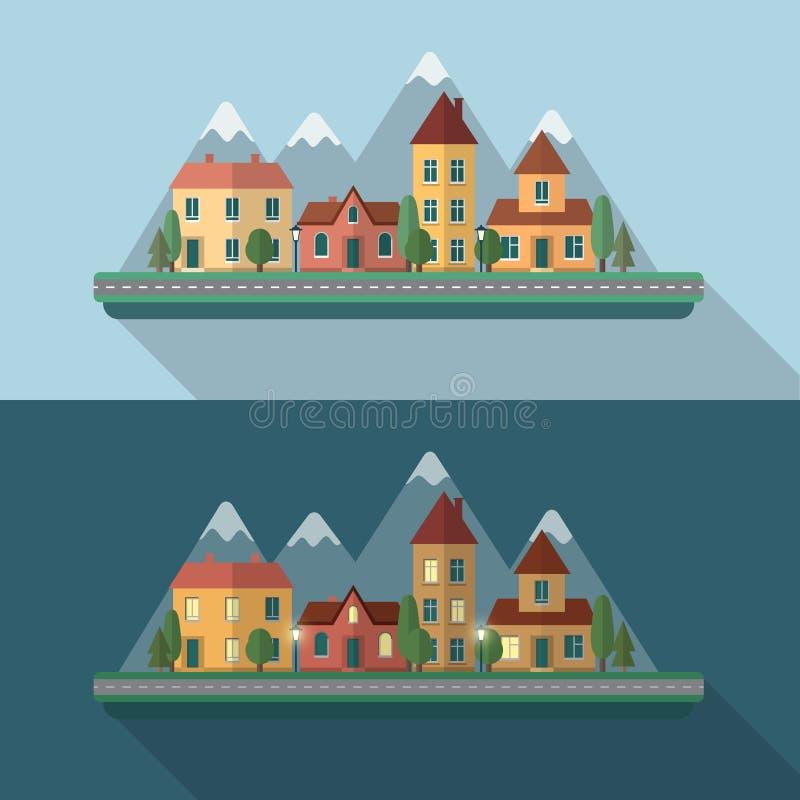 Straße der kleinen Stadt vektor abbildung