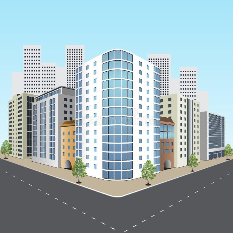 Straße der Stadt mit Bürogebäuden stock abbildung