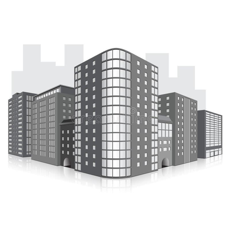 Straße der Stadt mit Bürogebäuden und refle lizenzfreie abbildung
