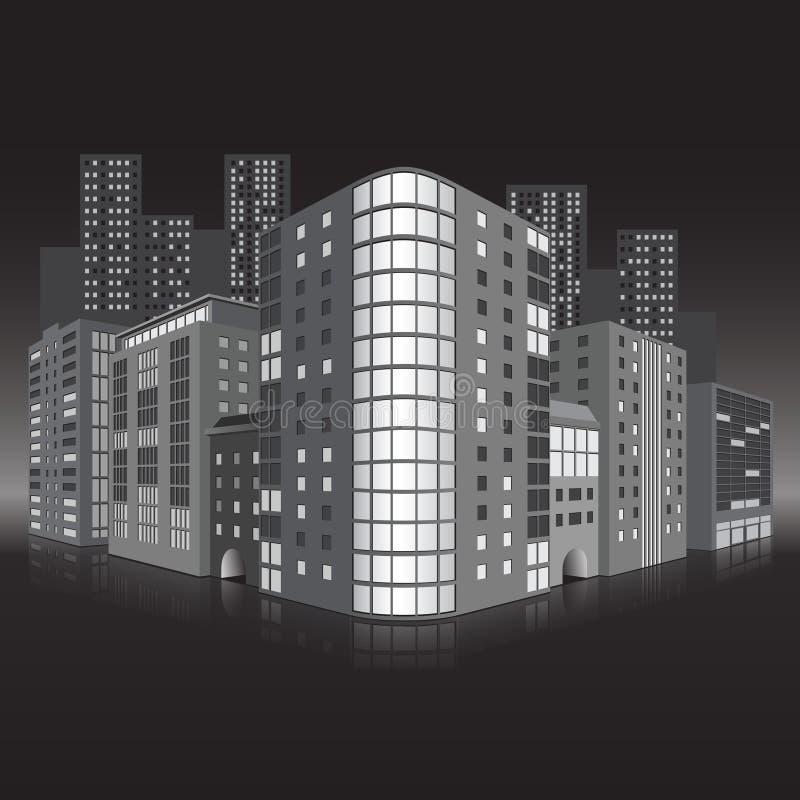 Straße der Stadt mit Bürogebäuden und refle stock abbildung