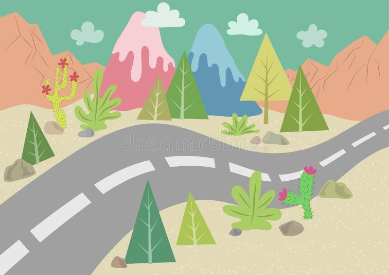 Straße in der Wüstenlandschaft vektor abbildung