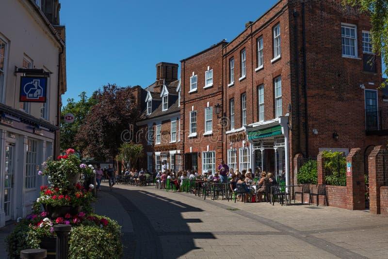 Straße des neuen Markts, Beccles, Großbritannien, im Juni 2019 lizenzfreies stockbild
