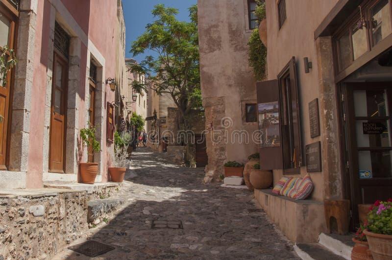 Straße des ` versteckten Stadt-` von Monemvasia stockfotografie