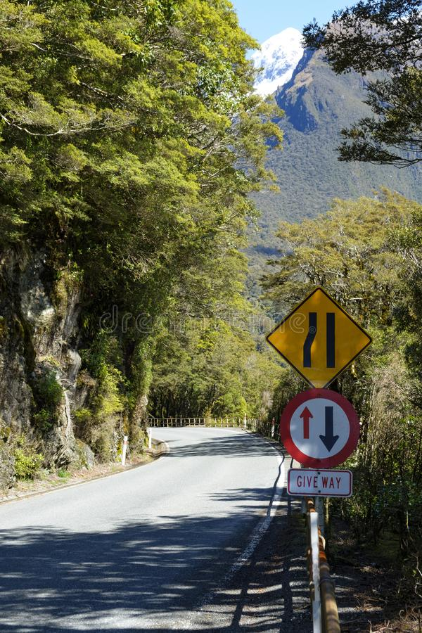 Straße, die zu einem Übergang eine Brücke in Nationalpark Fjordland, Südinsel, Neuseeland verengt lizenzfreies stockfoto
