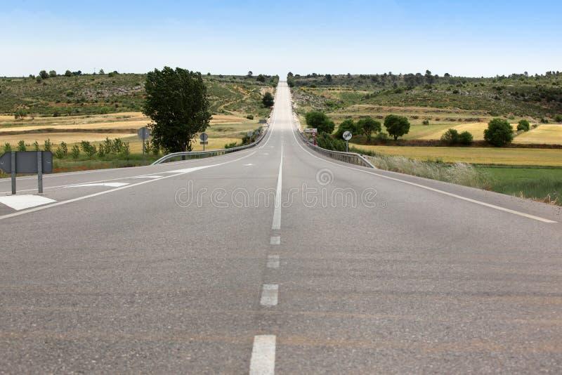 Straße durch das Feld lizenzfreie stockfotografie