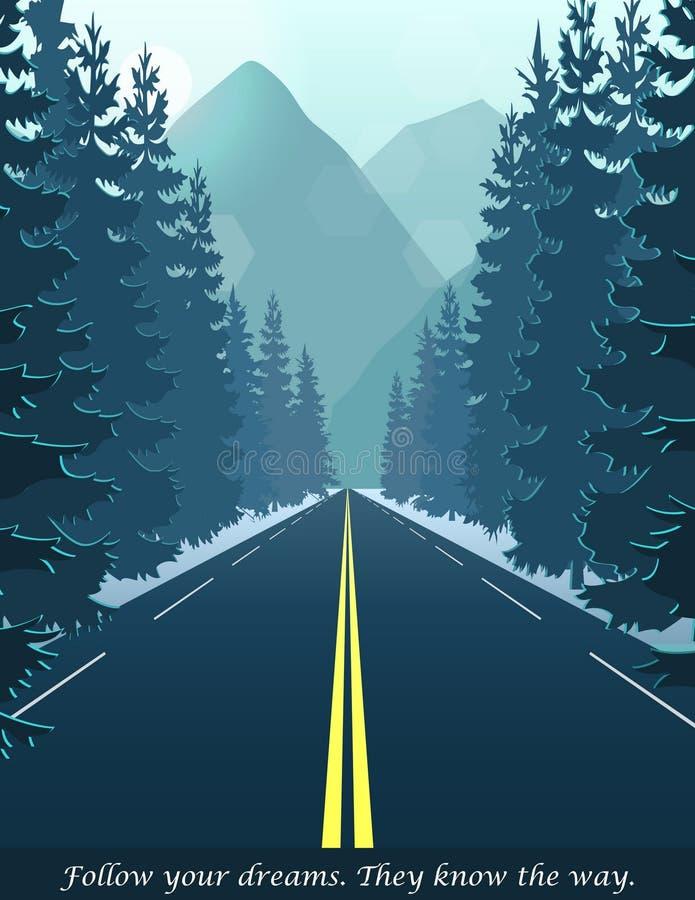 Straße durch den Wald, der zu Hügel und Berge führt vektor abbildung