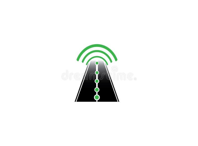 Straße in einem Kreis an einer schwarzen Weise und Richtung zum wifi schließen für Logoentwurf an vektor abbildung