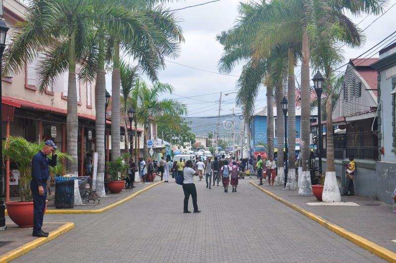 Straße in Falmouth, Jamaika stockbild