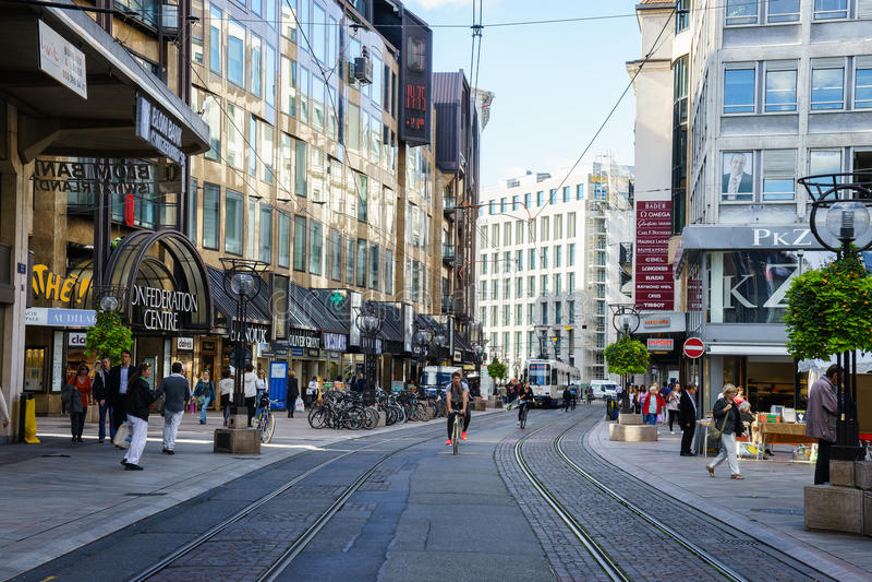 Straße in Genf, die Schweiz stockbilder
