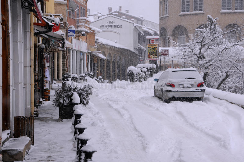 Straße Georgi S Rakovski im Winter stockfotografie