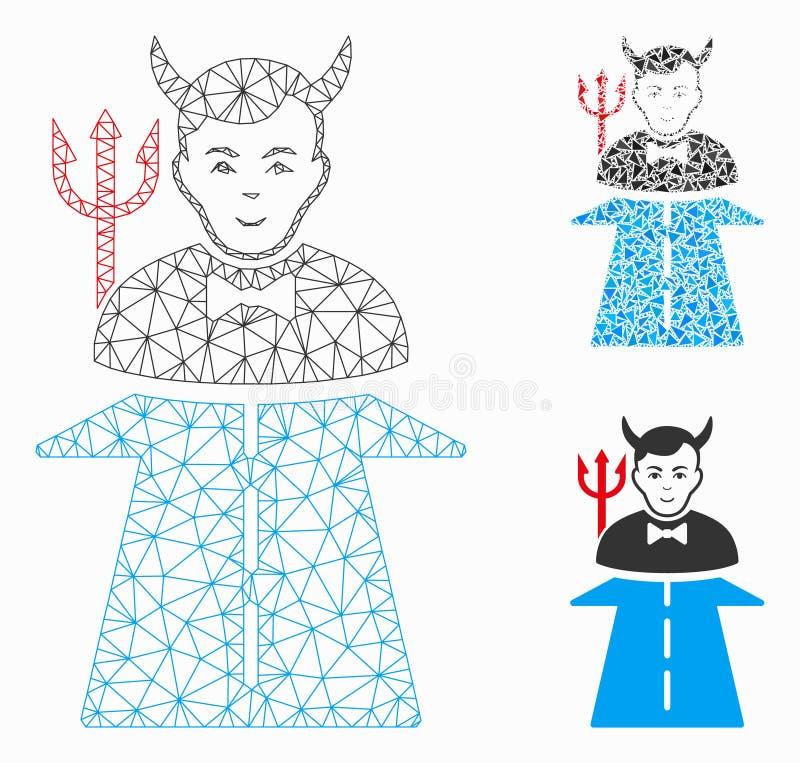 Straße Höllen-Monster-Vektor-Maschen-zur 2D Modell-und Dreieck-Mosaik-Ikone vektor abbildung