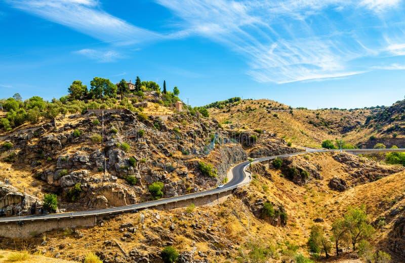 Straße herein nahe Toledo, Spanien lizenzfreies stockbild