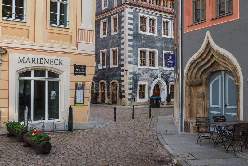 Straße im alten Teil von Pirna lizenzfreie stockbilder
