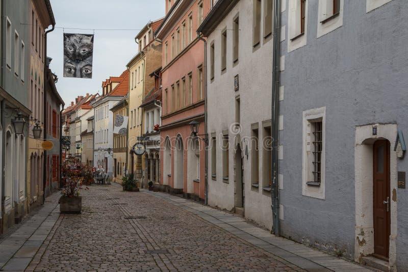 Straße im alten Teil von Pirna lizenzfreie stockfotos
