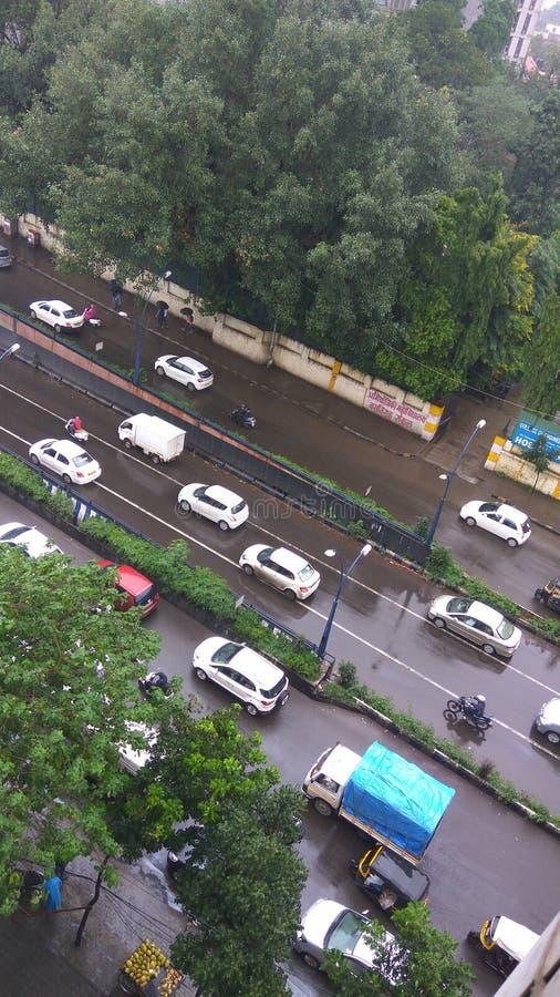 Straße im Dschungel stockbilder