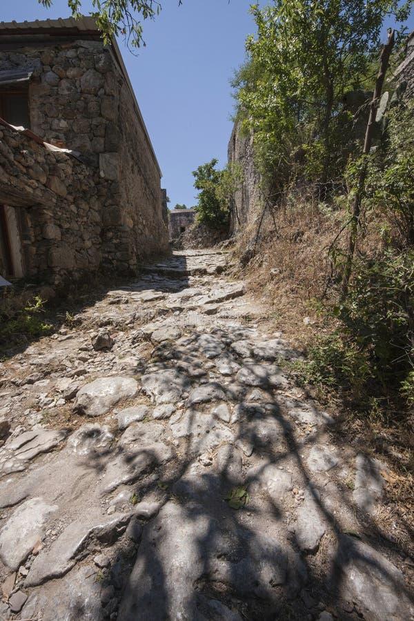 Straße in Kayakoy, die Türkei stockbild