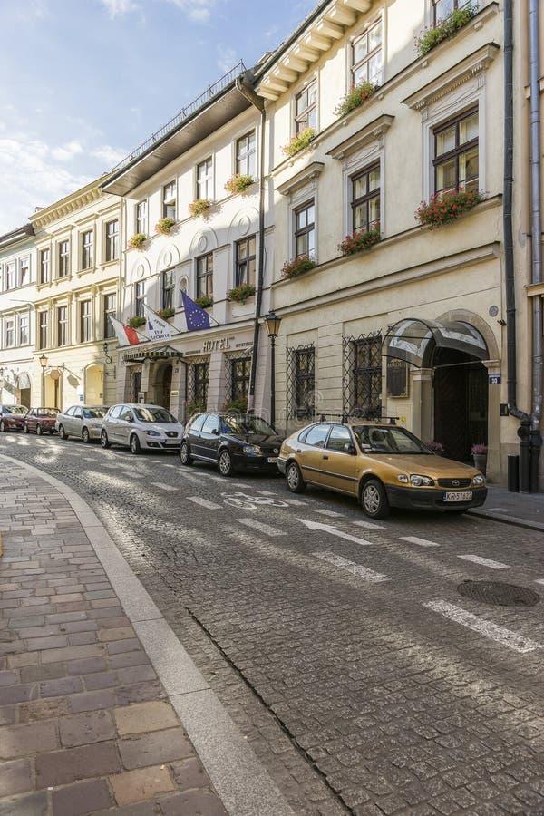 Straße in Krakau stockfotografie