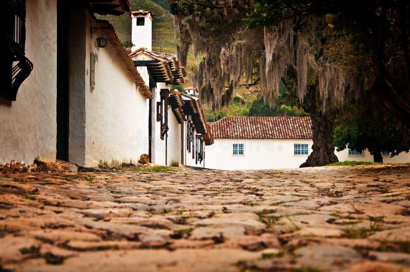 Straße Level Villa de Leyva stockfotos
