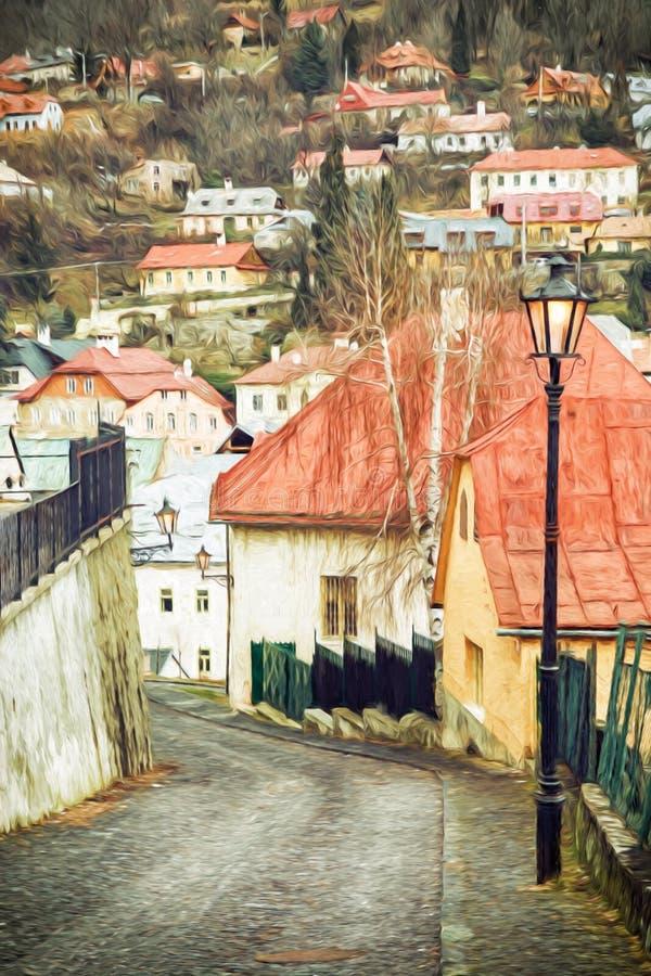 Straße mit alten Häusern in der alten Stadt Banska Stiavnica stock abbildung