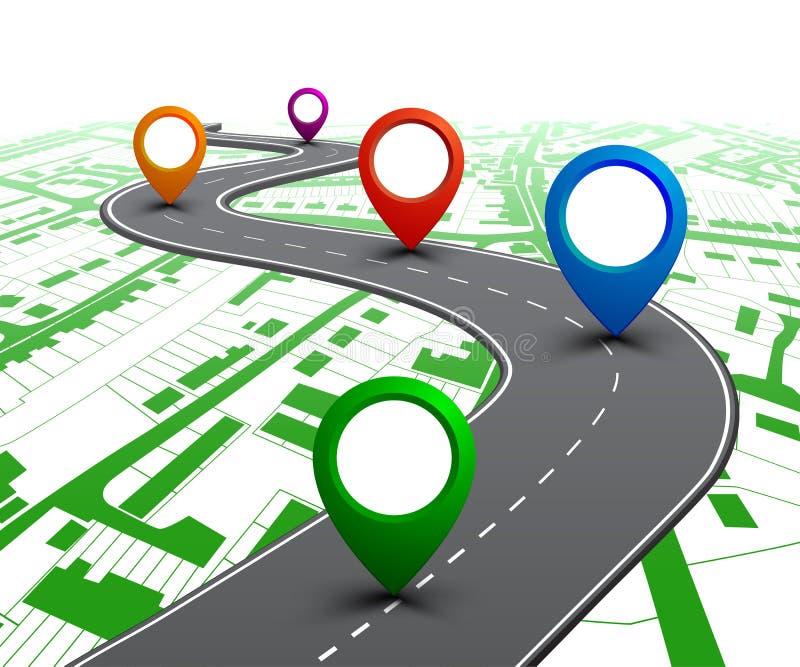 Straße mit GPS-Navigation auf der Stadtkarte. Autostra?e, Stra?e, Landstra?enschaltplan infographics ? ?Vektor stockbilder