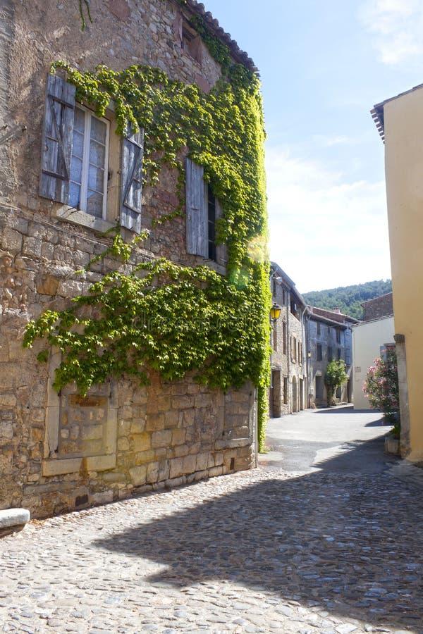 Straße mit Häusern mit Efeu in Lagrasse lizenzfreie stockbilder