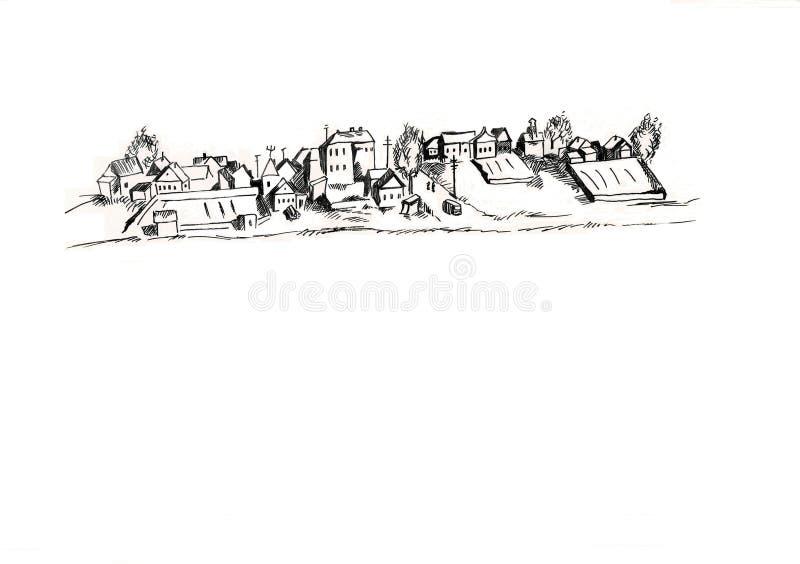 Straße mit Häusern skizzieren grafische Illustration vektor abbildung