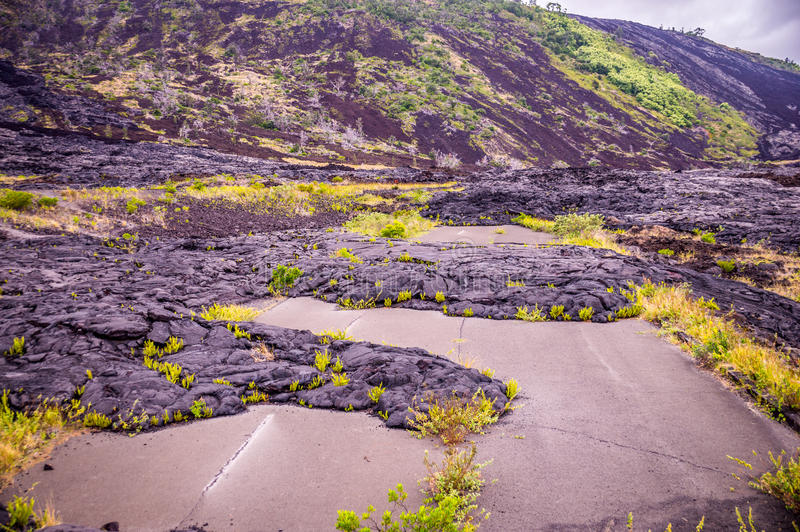 Straße mit Lava in Hawaii lizenzfreies stockfoto