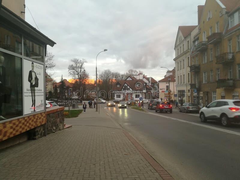 Straße in Olsztyn, Polen stockbild