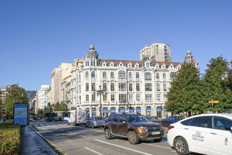 Straße in Oviedo, Spanien stockbild